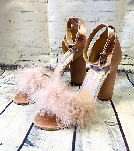 Retro Miss Selfridge Nude Fluffy Heels/Shoes UK6 (EUR39)