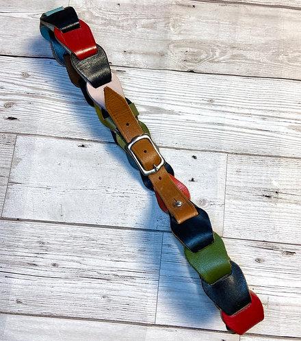 Vintage Navy Multicolour Leather Link Belt UK 10/12