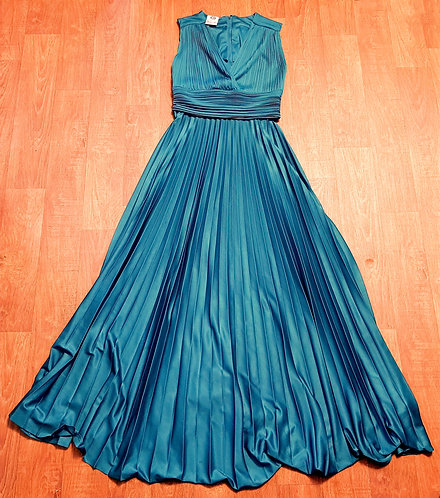 Stunning 1970s Vintage Jade Green Pleated Evening Dress UK Size 12
