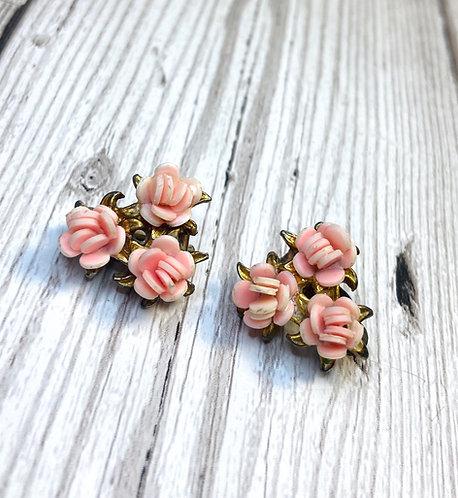1950s Vintage Pink Rose Trio Earrings