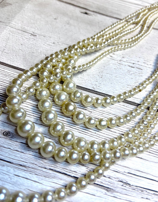 1960s Vintage 5 Strand Pearl Necklace
