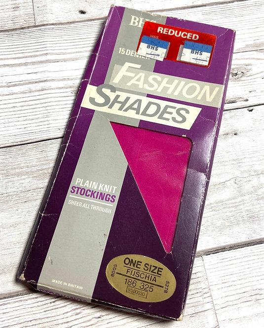 Vintage 80s Fashion Shades Stockings - Fuschia
