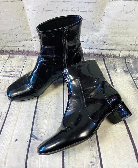 Retro 60s Style Black Patent Ankle Boots UK 6.5/EUR 40