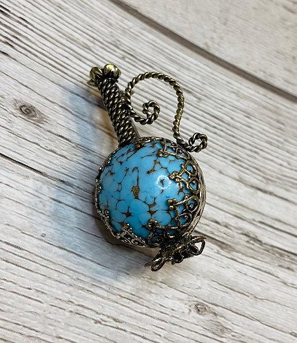 Vintage Blue Marbled Bottle Brooch