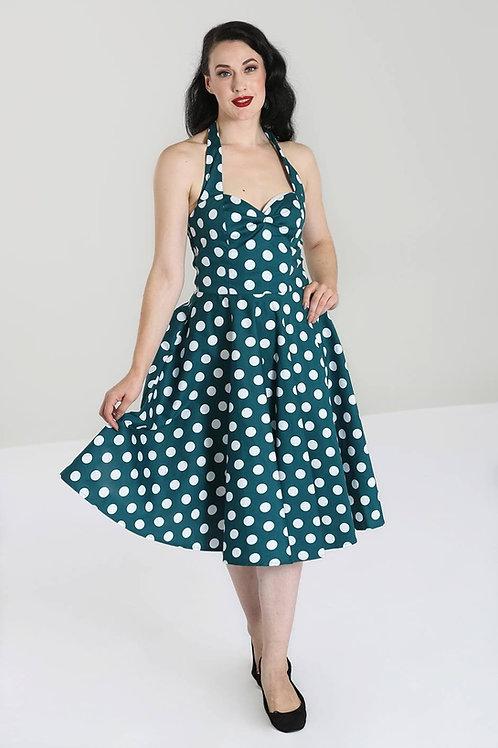 1950s Style Teal Polka Dot Halterneck Swing Dress