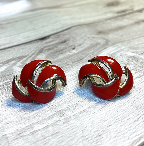 Vintage Red Enamel Swirl Earrings