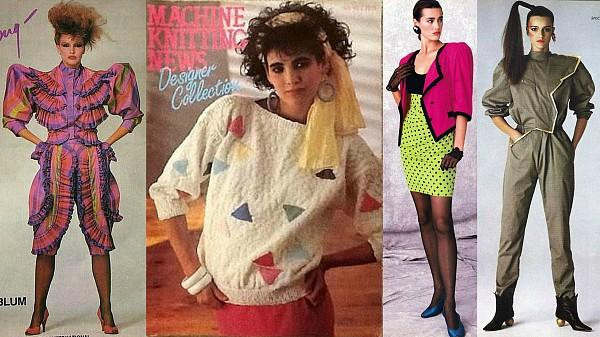 Four different models in a collage of clothing from the 1980s.