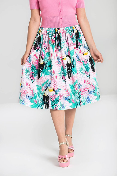 Retro 50s Style Tropical Toucan Swing Skirt