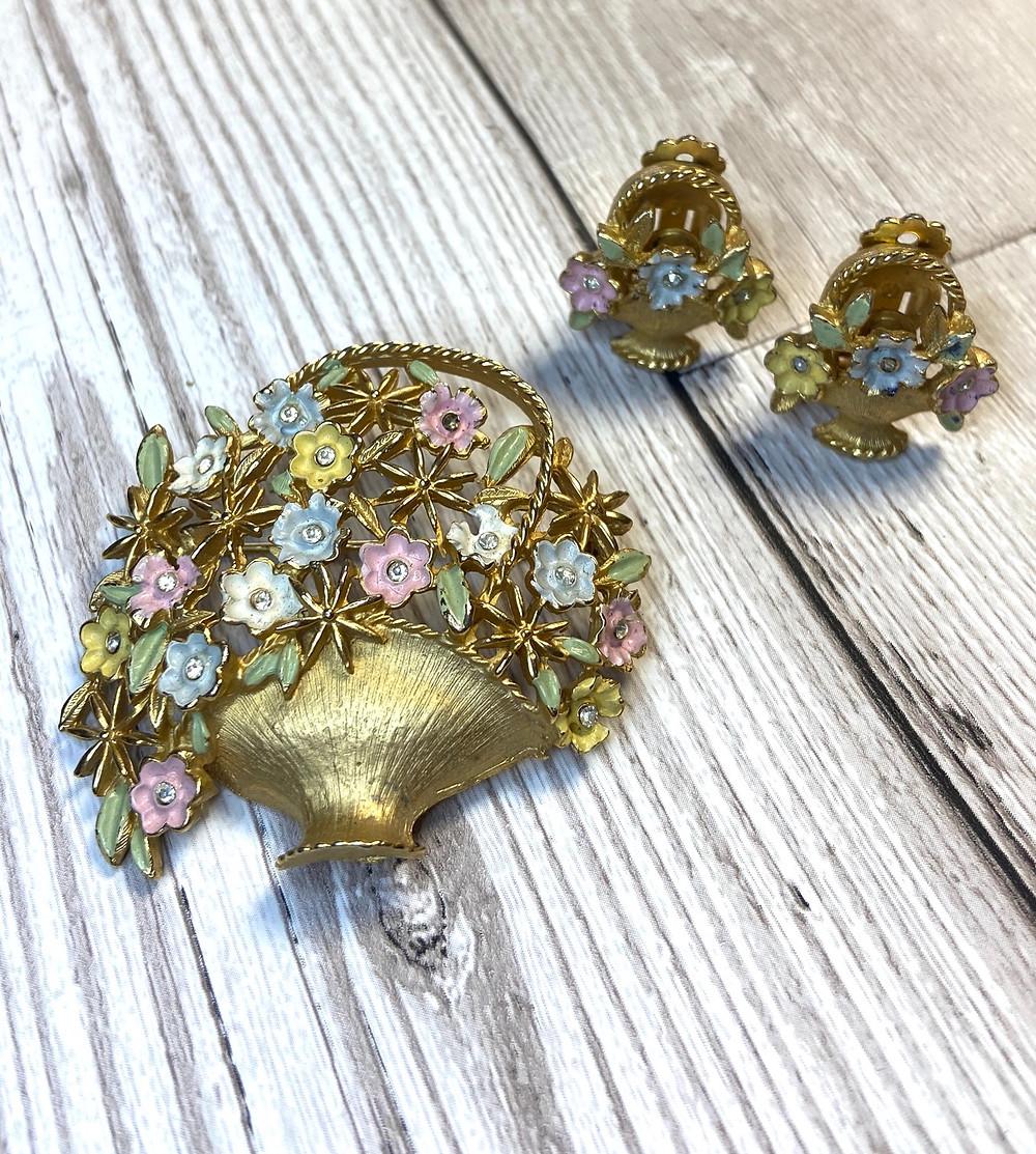 1950s Vintage Kramer Floral Brooch & Earrings Parure - Vintage Jewellery - Mothers Day Gifts