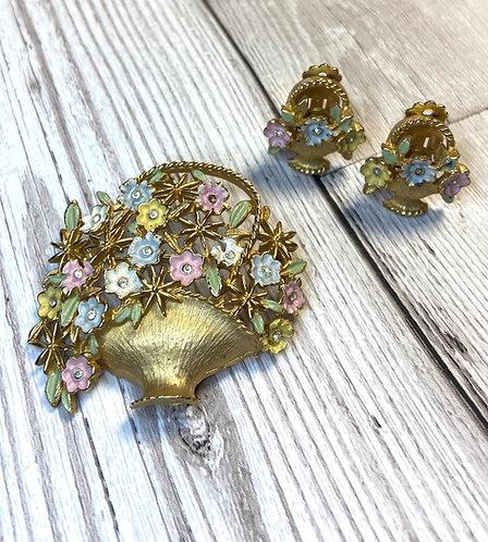 1950s Vintage Kramer Floral Brooch & Earrings Parure