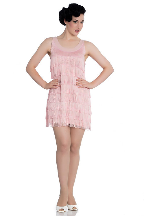 1920s Vintage Inspired Pink Fringed Flapper Dress