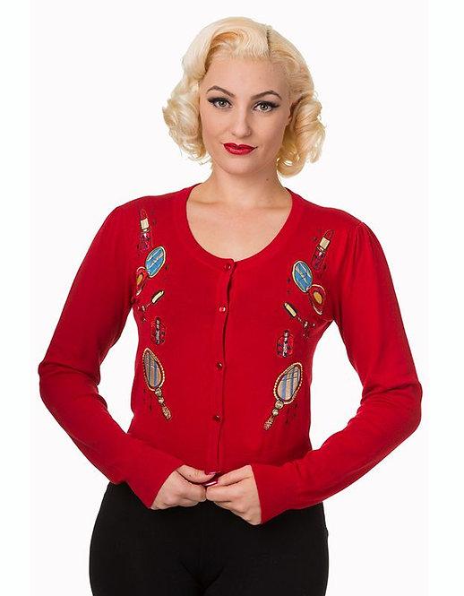 Rockabilly Red Makeup Design Cardigan