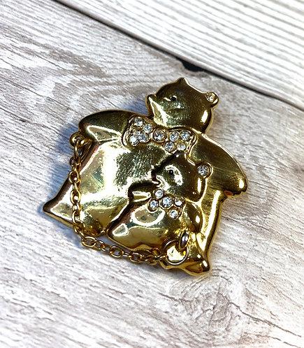 Vintage Gold Mama/Papa & Baby Bear Brooch