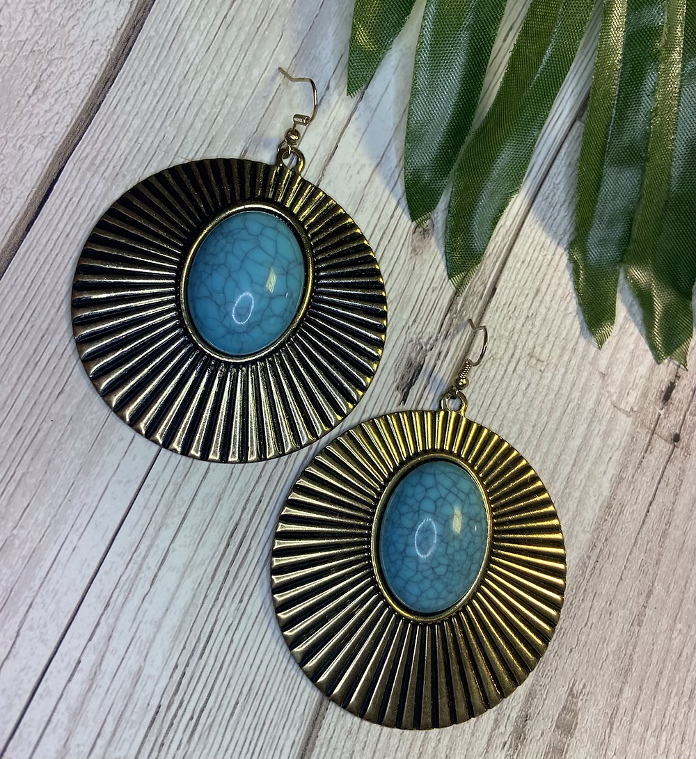 Vintage Gold Disc Crackle Stone Statement Earrings