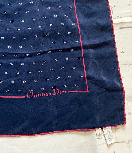 1980s Vintage Navy Christian Dior Silk Scarf