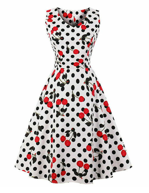 Vintage Style White Cherry Polka Dot Swing Dress