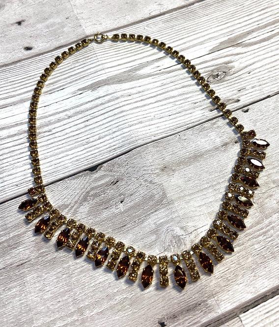 Vintage Golden Topaz Diamanté Necklace
