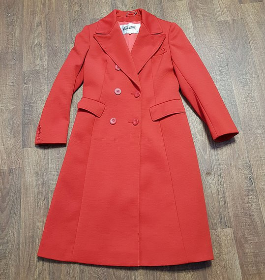 1970s Vintage Eastex Double Breasted Long Red Coat UK Size 12