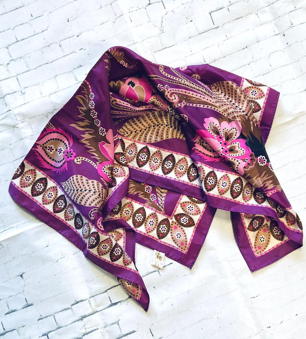 Vintage Purple Floral Hand Painted Scarf - Vintage Scarves