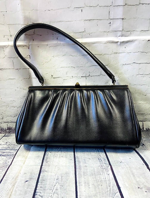 1970s Vintage Black Faux Leather Handbag