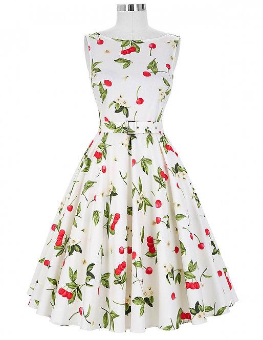 Vintage 50s Style White Cherry Print Swing Dress