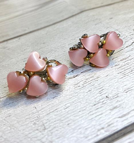 1960s Vintage Pink Heart Cluster Earrings