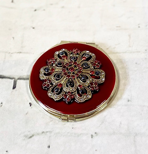 Ornate Vintage Red Jewelled Compact Mirror