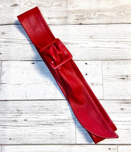1980s Vintage Red Leather Belt UK 8/10/12