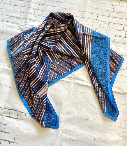 Vintage Blue & Brown Striped Scarf
