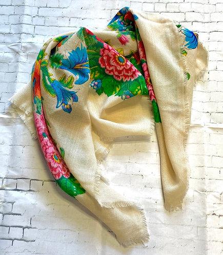 Large Vintage Bright Floral Scarf/Shawl
