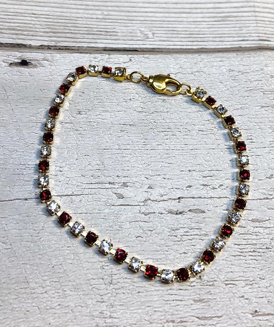 1970s Vintage Red & White Diamanté Bracelet