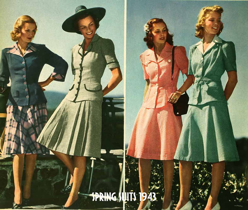 An original advertisement for ladies suits from 1943. Four women in pretty 2 piece skirt suits.