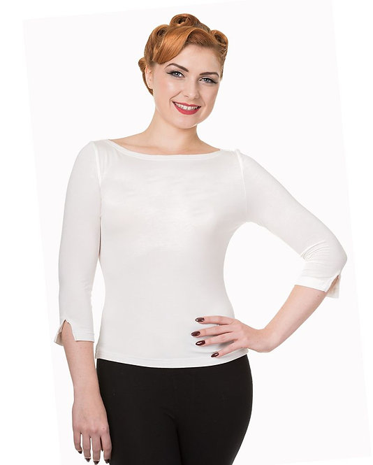 Retro Style White Stretch Bardot Top