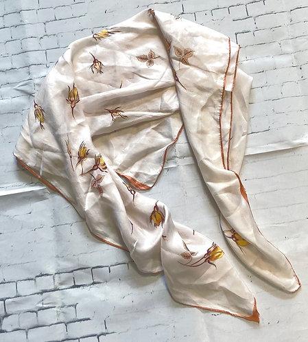 Vintage Cream Autumn Floral Fine Silk Scarf