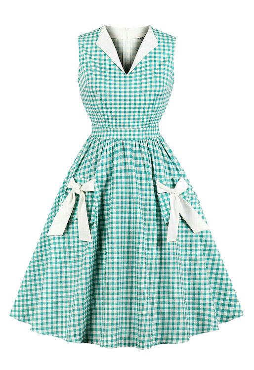 1950s Style Green Gingham Swing Dress