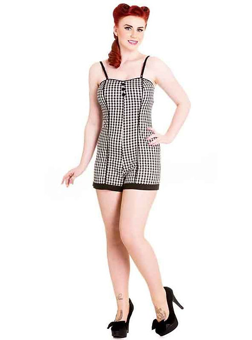 Retro Black & White Gingham Playsuit