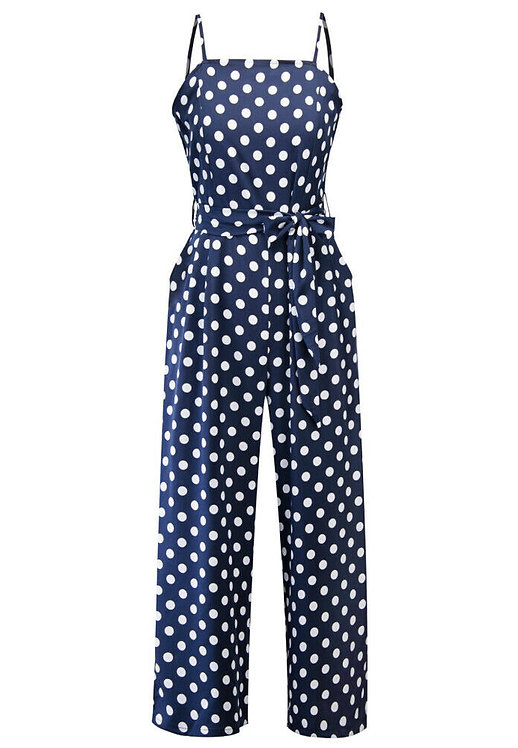 Retro Navy Polka Dot Wide Leg Jumpsuit
