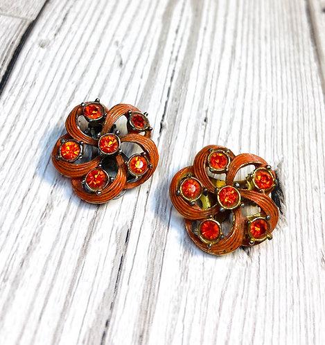 1960s Vintage Orange Sparkle Swirl Earrings