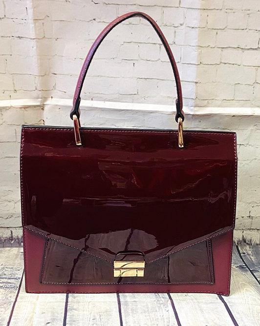 Vintage Inspired Large Burgundy Patent Handbag