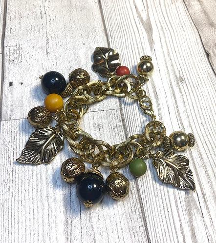 1960s Vintage Chunky Gold Leaf Charm Bracelet