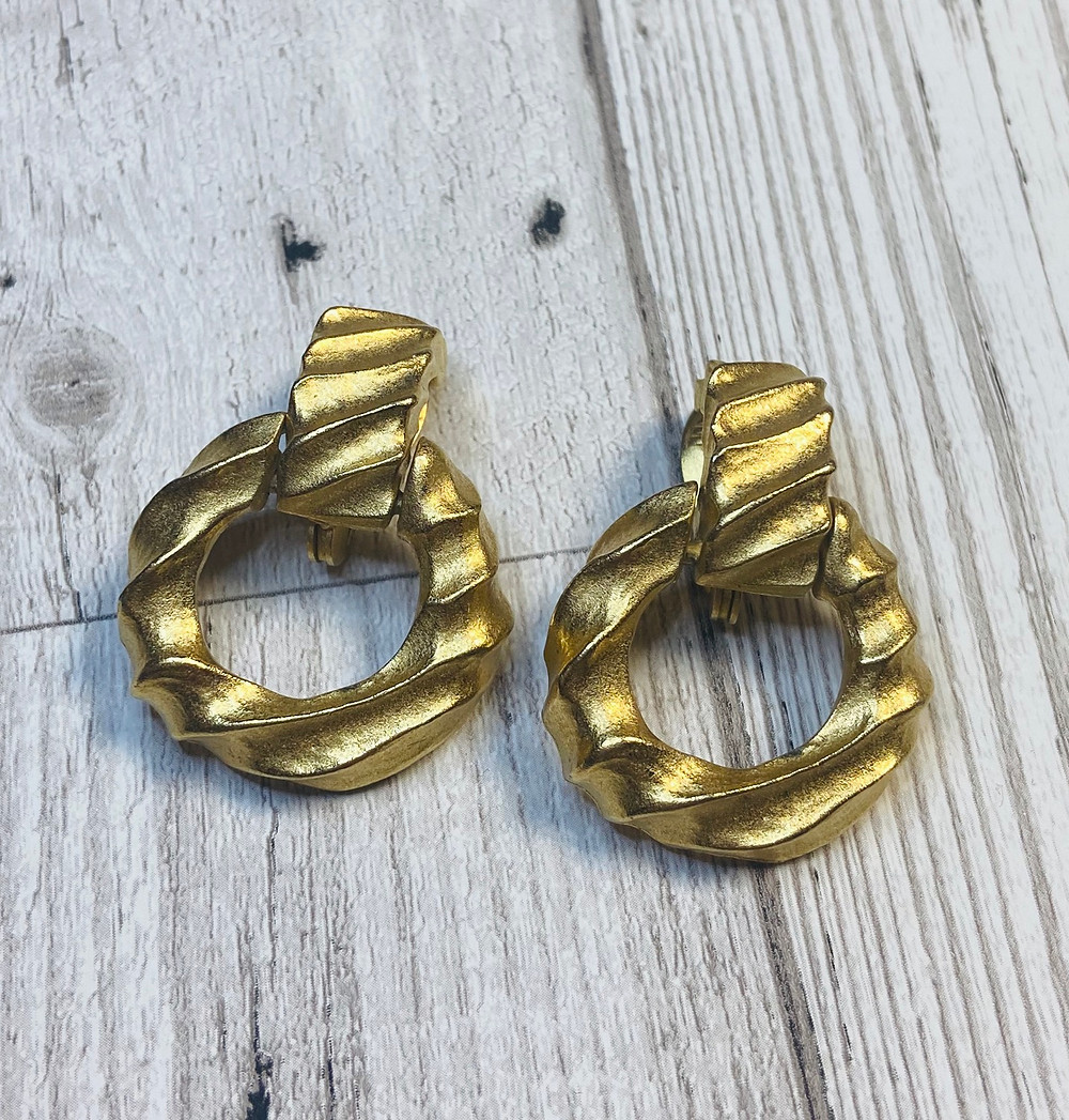 1980s Vintage Givenchy Chunky Gold Earrings