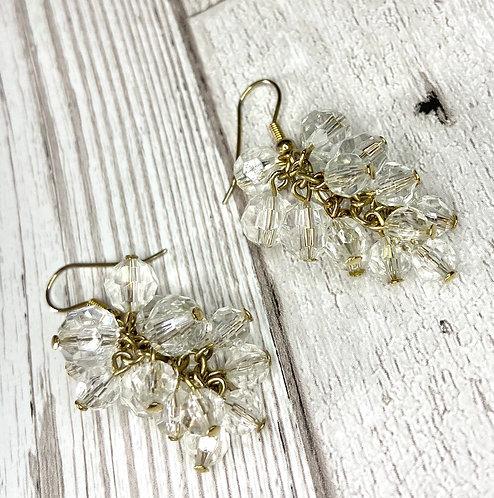 1960s Vintage Crystal Cluster Drop Earrings