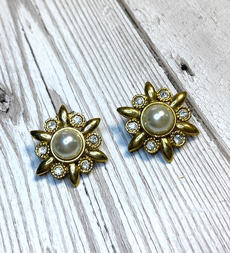 Vintage Diamanté & Pearl Flower Earrings