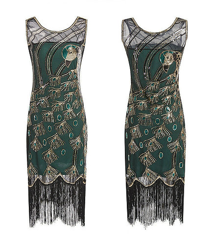 1920s Style Green Peacock Beaded Flapper Dress