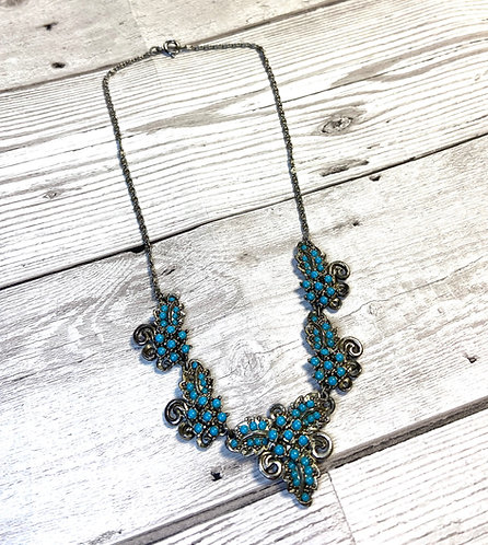 Vintage Silver & Turquoise Micro Bead Necklace