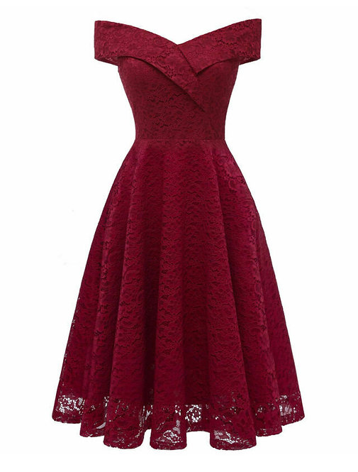 50s Vintage Style Deep Red Lace Swing Dress