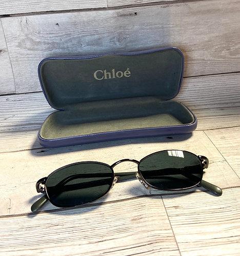Vintage Chloé Grey Rectangular Designer Sunglasses