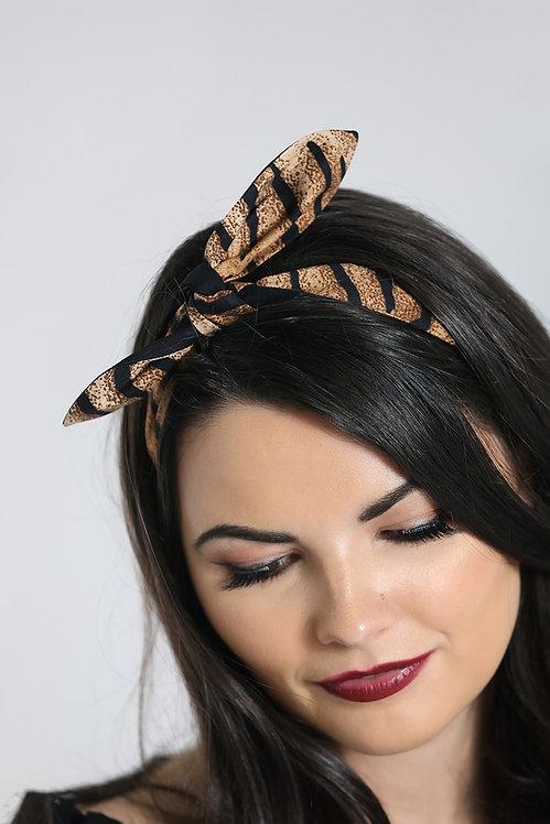 Retro Headscarf/Hairtie - Tiger Print