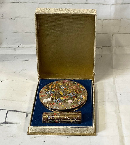 Vintage Stratton Hand Painted Compact & Lipstick