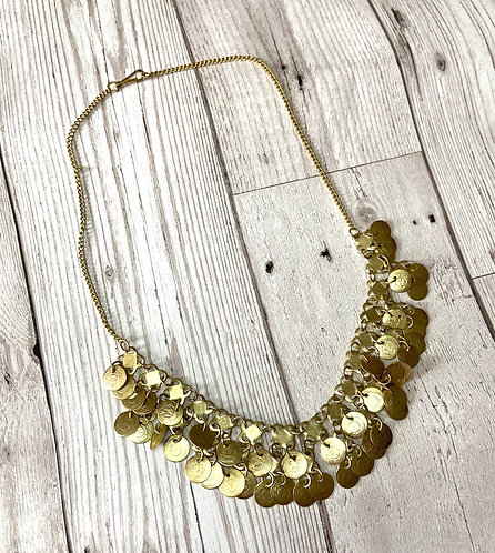 1960s Vintage Goldtone Micro Coin Necklace
